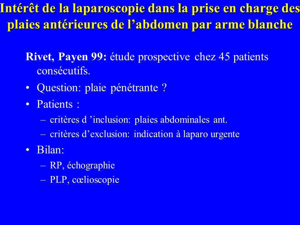 Intérêt de la laparoscopie dans la prise en charge des plaies antérieures de labdomen par arme blanche Rivet, Payen 99: étude prospective chez 45 pati