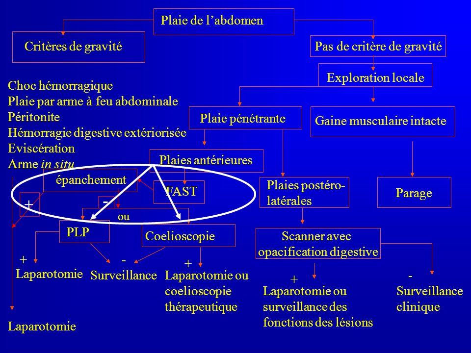 Plaie de labdomen Critères de gravité Pas de critère de gravité Gaine musculaire intacte Choc hémorragique Plaie par arme à feu abdominale Péritonite