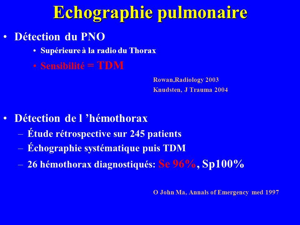 Echographie pulmonaire Détection du PNO Supérieure à la radio du Thorax Sensibilité = TDM Rowan,Radiology 2003 Knudsten, J Trauma 2004 Détection de l