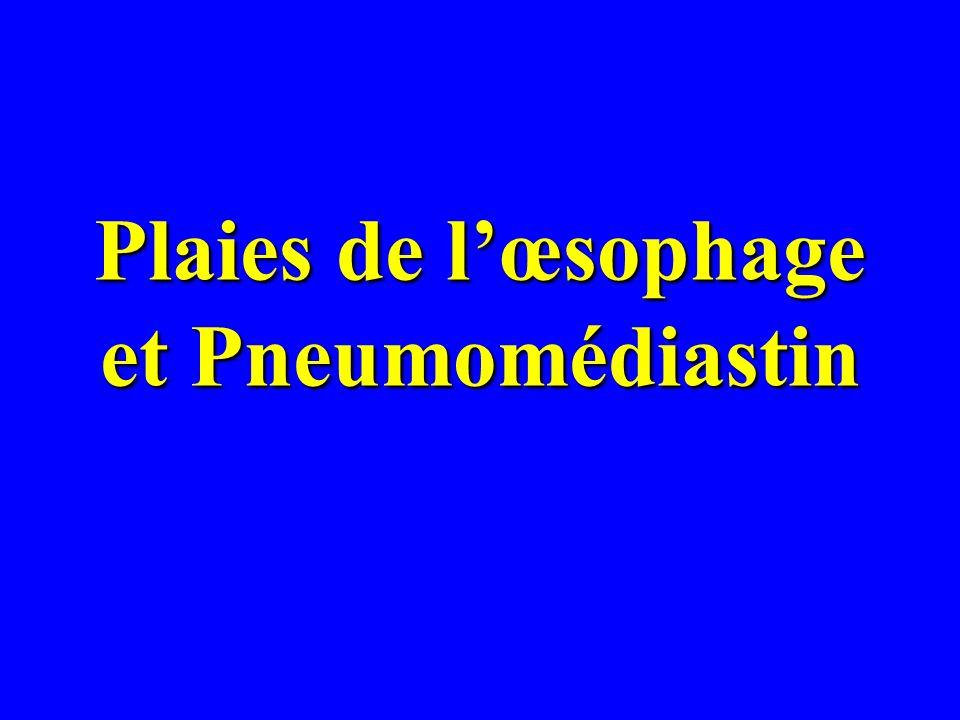 Plaies de lœsophage et Pneumomédiastin
