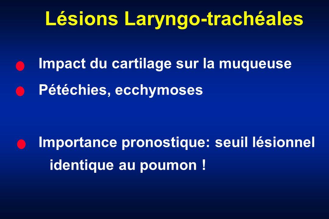 Lésions Laryngo-trachéales Impact du cartilage sur la muqueuse Pétéchies, ecchymoses Importance pronostique: seuil lésionnel identique au poumon !