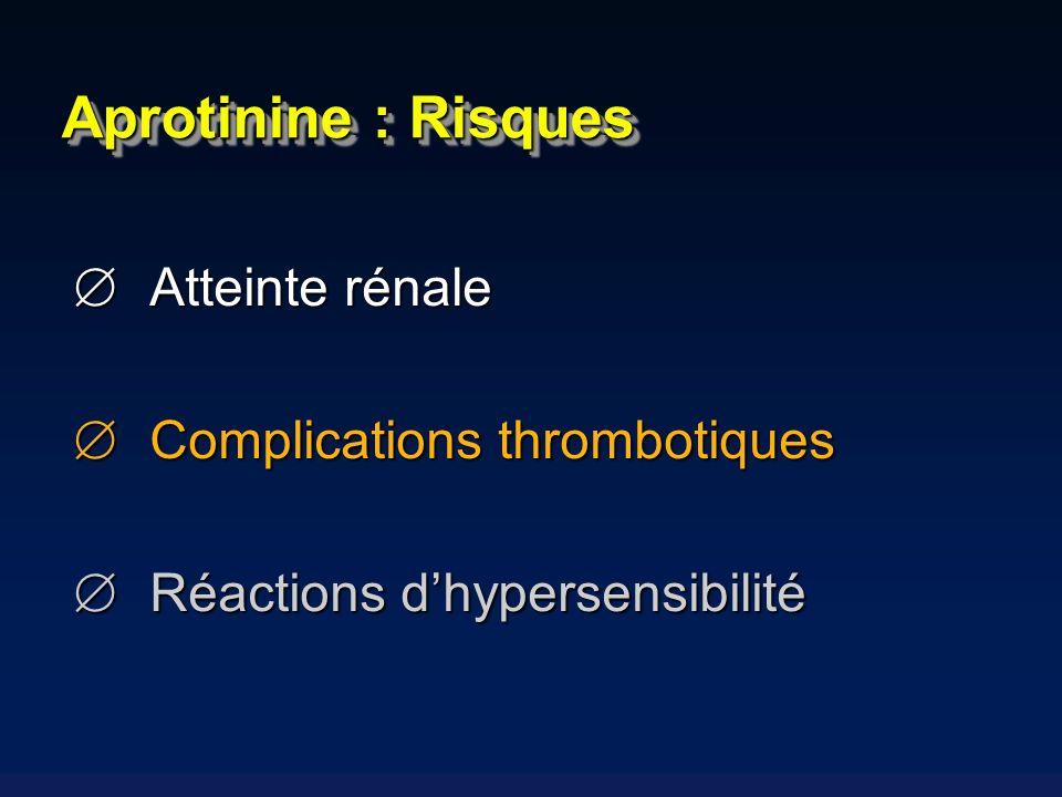 Atteinte rénale Atteinte rénale Complications thrombotiques Complications thrombotiques Réactions dhypersensibilité Réactions dhypersensibilité Aproti