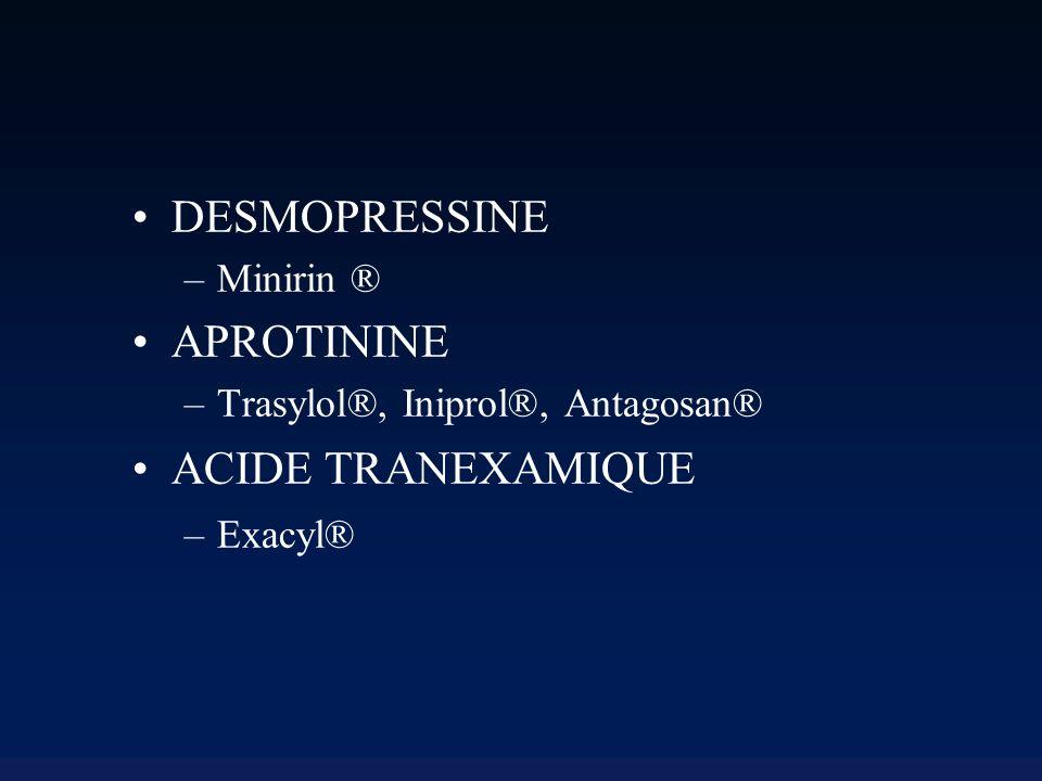 Desmopressine (Minirin ®) Analogue synthétique de l AVP Moins vasoconstricteur Plus antidiurétique => traitement du diabète insipide central Augmentation du vWF et du VIII circulants Augmentation de la libération endothéliale de tPA...
