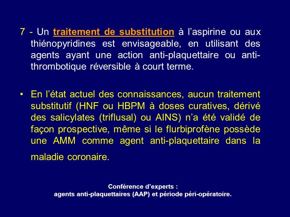 7 - Un traitement de substitution à laspirine ou aux thiénopyridines est envisageable, en utilisant des agents ayant une action anti-plaquettaire ou a