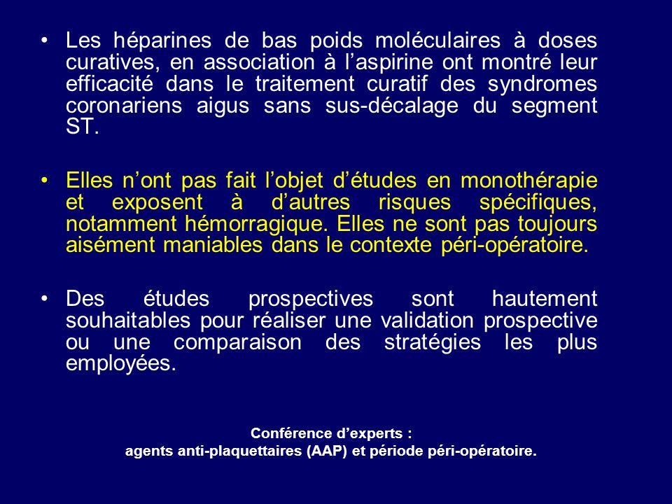 Les héparines de bas poids moléculaires à doses curatives, en association à laspirine ont montré leur efficacité dans le traitement curatif des syndro