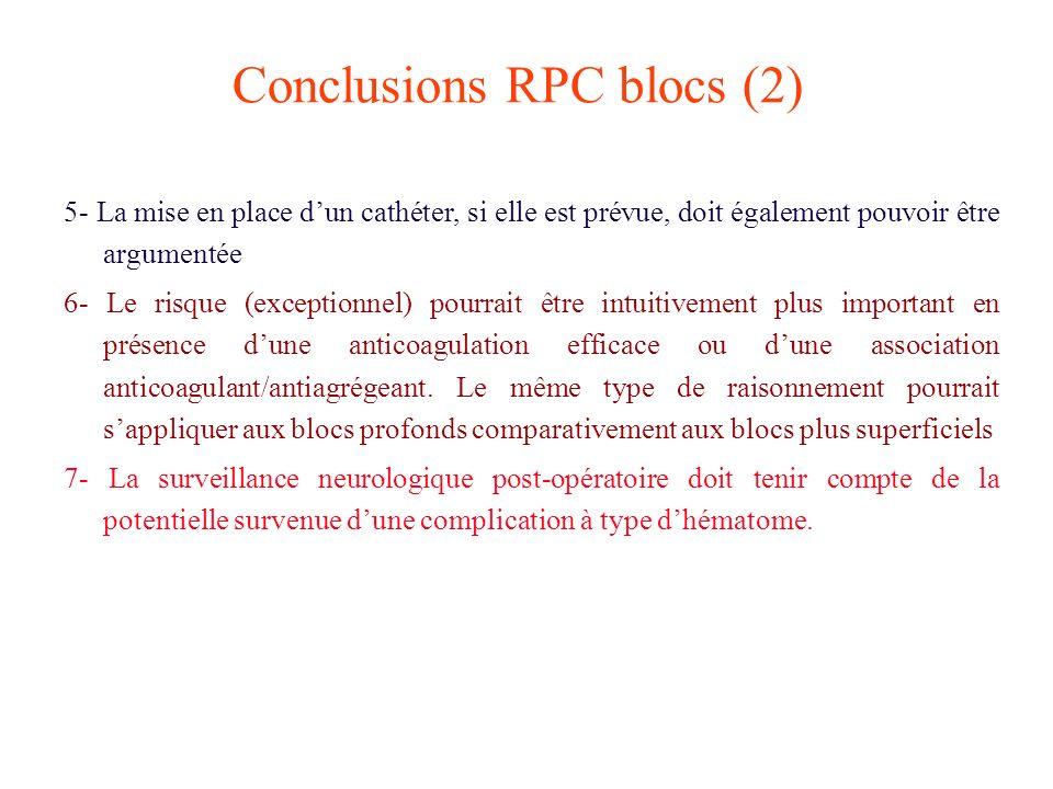 Conclusions RPC blocs (2) 5- La mise en place dun cathéter, si elle est prévue, doit également pouvoir être argumentée 6- Le risque (exceptionnel) pou