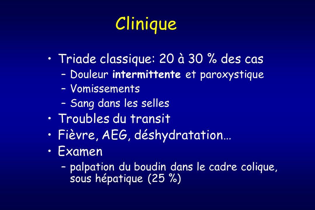 Clinique Triade classique: 20 à 30 % des cas –Douleur intermittente et paroxystique –Vomissements –Sang dans les selles Troubles du transit Fièvre, AE