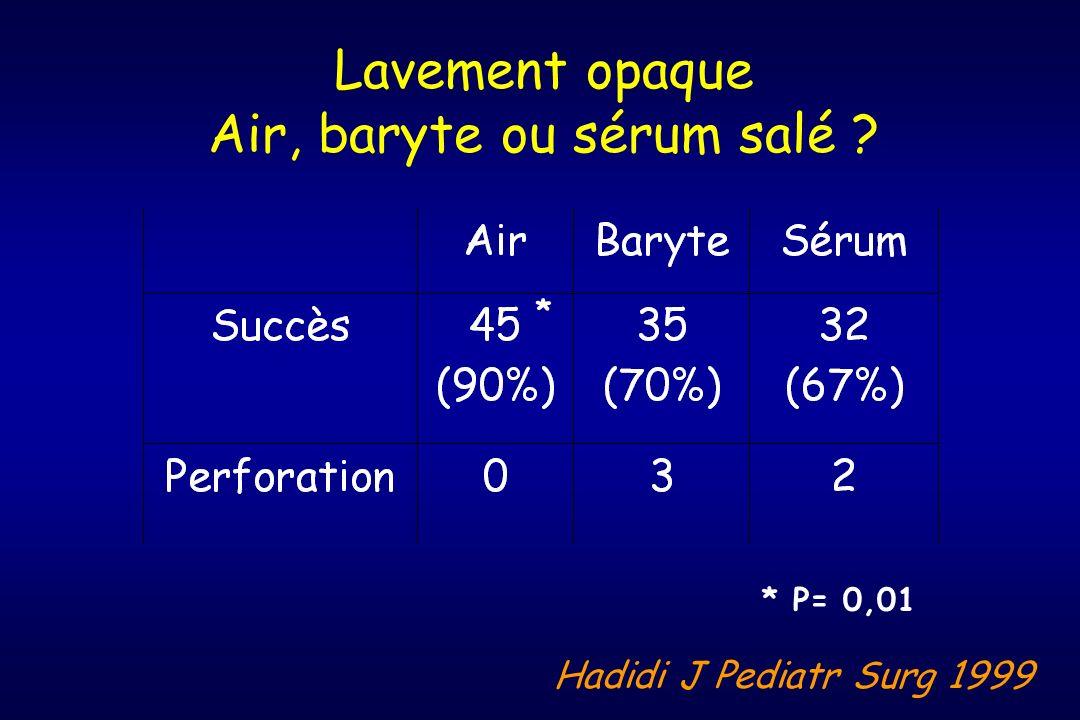 Lavement opaque Air, baryte ou sérum salé ? * P= 0,01 * Hadidi J Pediatr Surg 1999