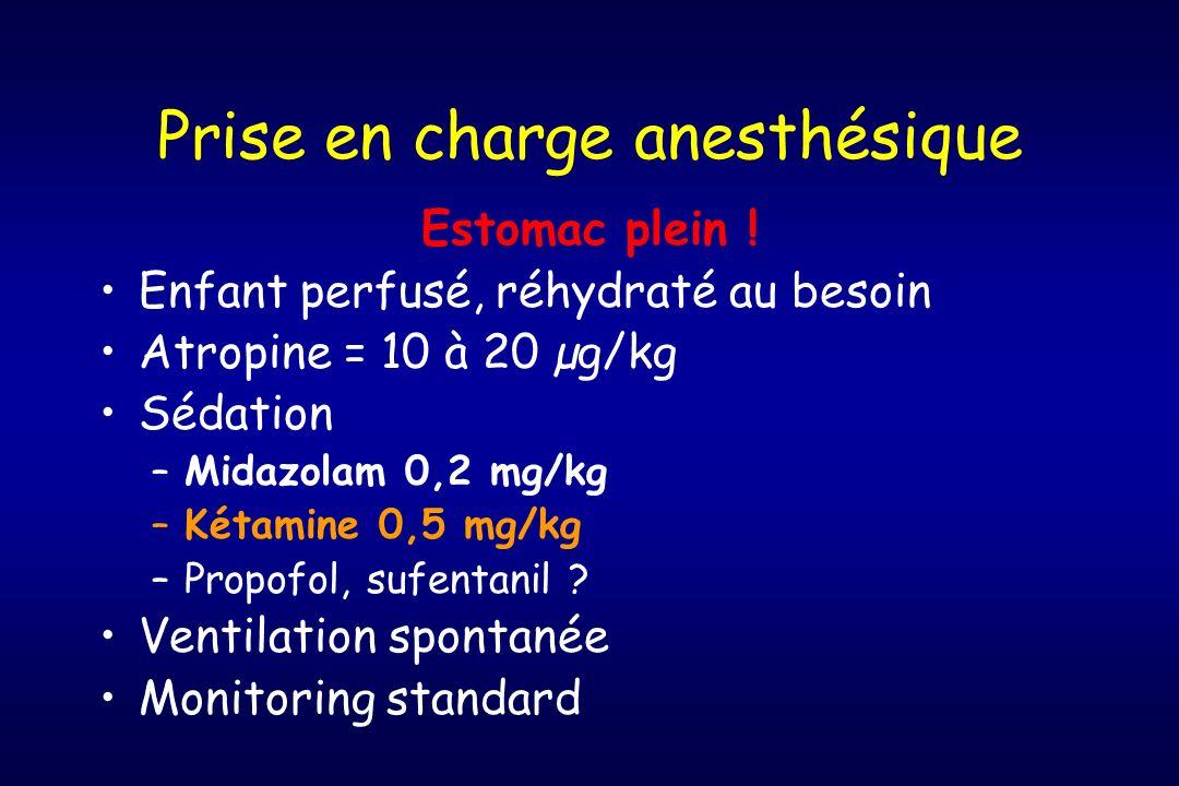 Prise en charge anesthésique Estomac plein ! Enfant perfusé, réhydraté au besoin Atropine = 10 à 20 µg/kg Sédation –Midazolam 0,2 mg/kg –Kétamine 0,5