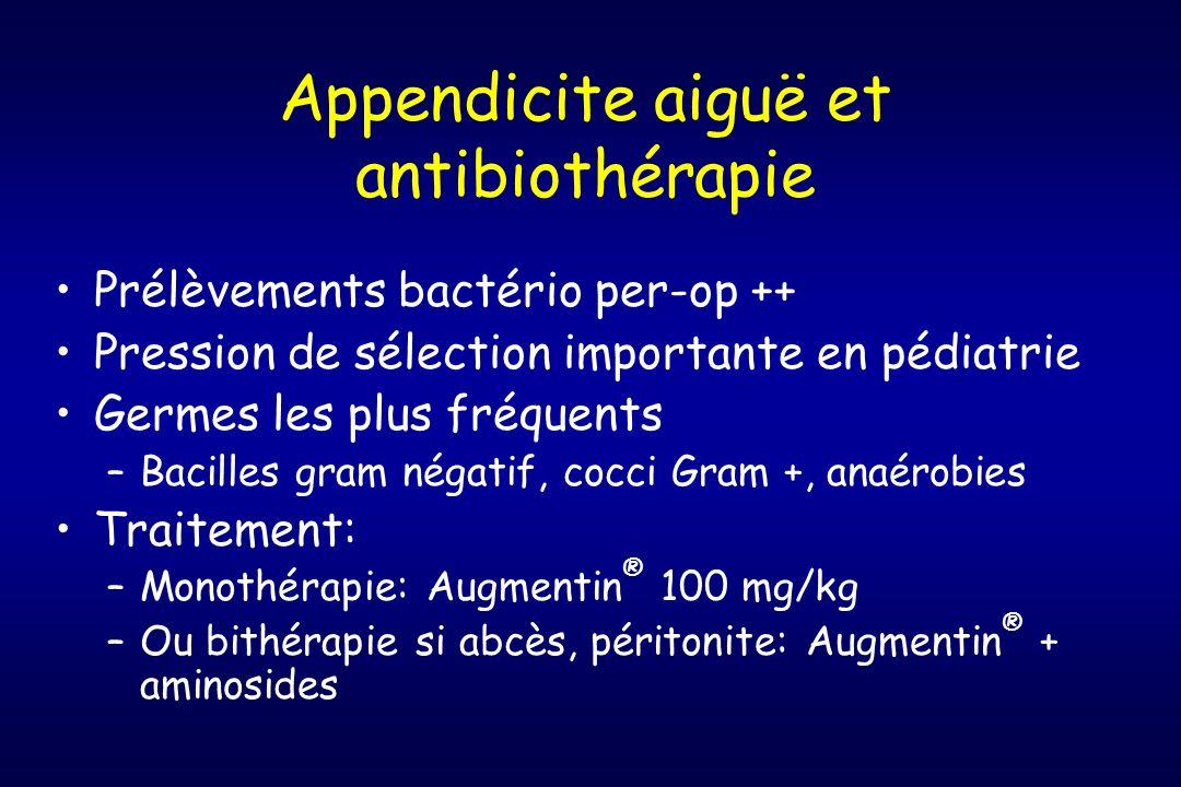 Appendicite aiguë et antibiothérapie Prélèvements bactério per-op ++ Pression de sélection importante en pédiatrie Germes les plus fréquents –Bacilles