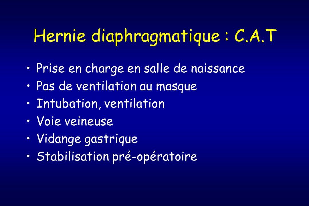 Hernie diaphragmatique : C.A.T Prise en charge en salle de naissance Pas de ventilation au masque Intubation, ventilation Voie veineuse Vidange gastri