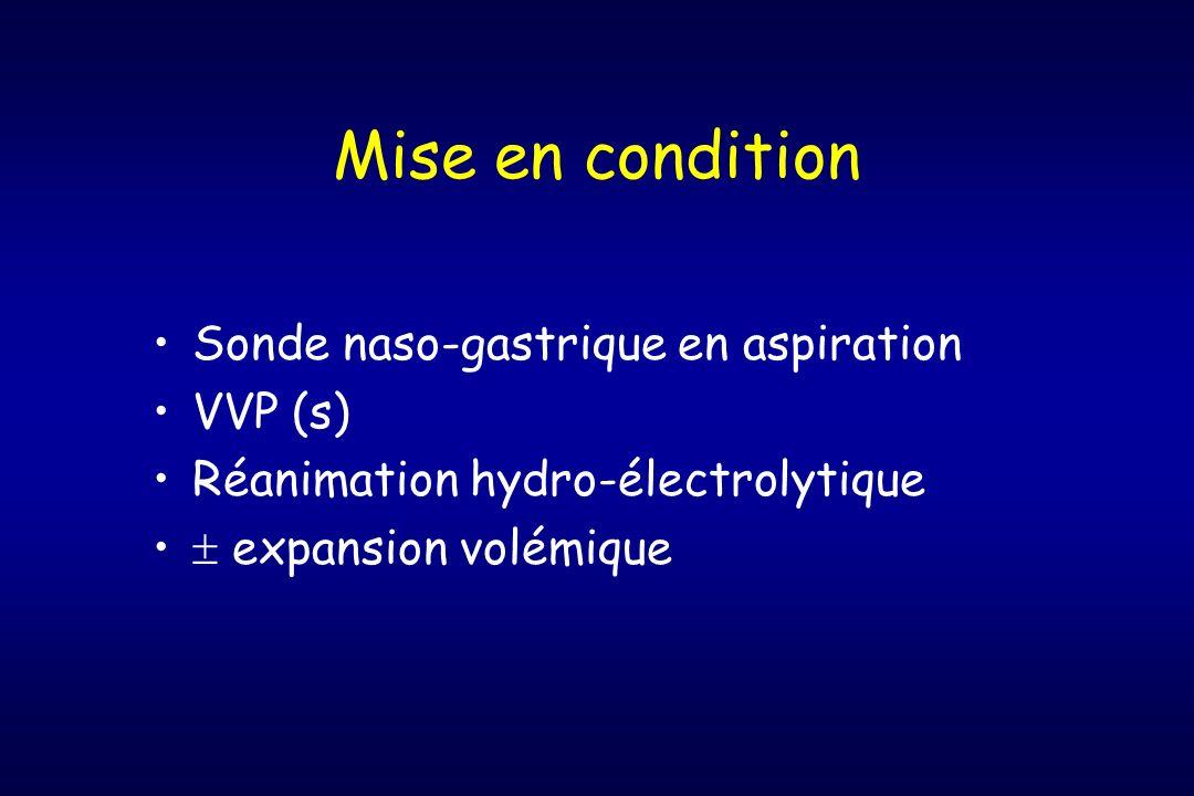 Mise en condition Sonde naso-gastrique en aspiration VVP (s) Réanimation hydro-électrolytique expansion volémique