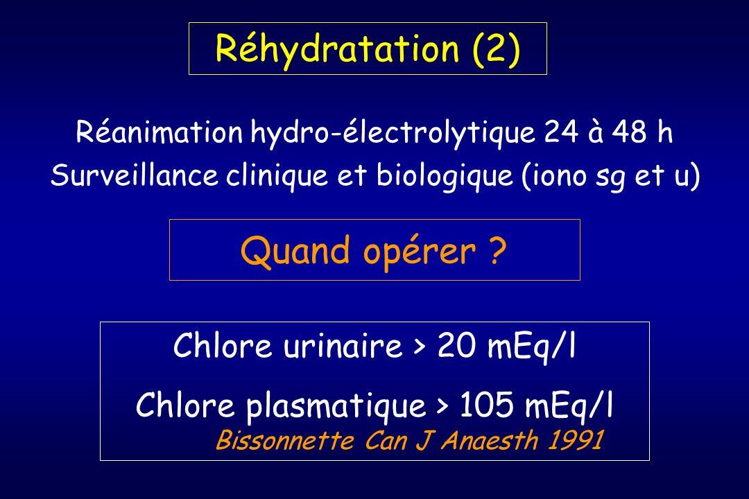Quand opérer ? Chlore urinaire > 20 mEq/l Chlore plasmatique > 105 mEq/l Bissonnette Can J Anaesth 1991 Réhydratation (2) Réanimation hydro-électrolyt