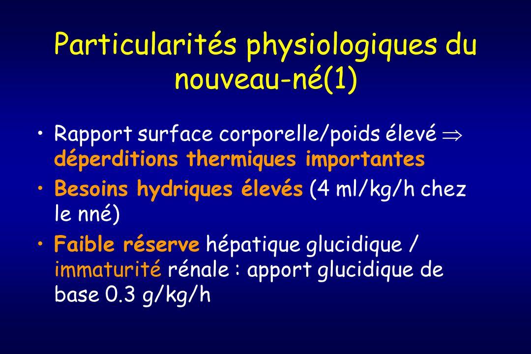 Particularités physiologiques du nouveau-né(1) Rapport surface corporelle/poids élevé déperditions thermiques importantes Besoins hydriques élevés (4