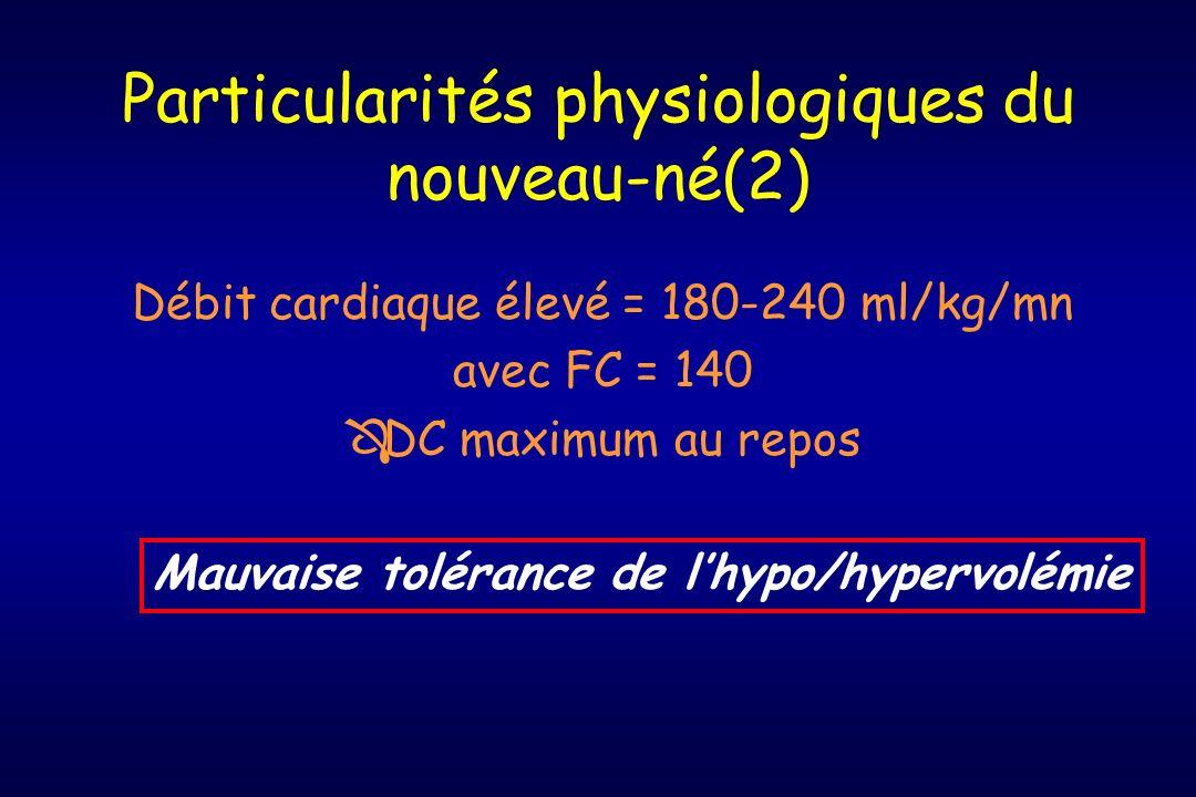 Particularités physiologiques du nouveau-né(2) Débit cardiaque élevé = 180-240 ml/kg/mn avec FC = 140 ÔDC maximum au repos Mauvaise tolérance de lhypo