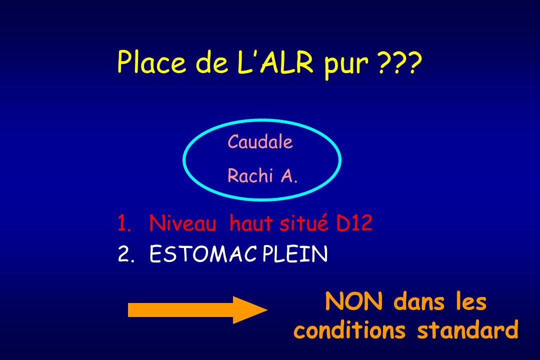 Place de LALR pur ??? 1.Niveau haut situé D12 2.ESTOMAC PLEIN Caudale Rachi A. NON dans les conditions standard