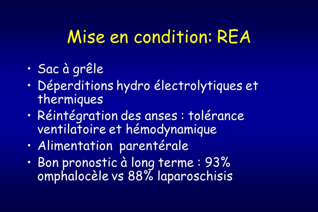 Mise en condition: REA Sac à grêle Déperditions hydro électrolytiques et thermiques Réintégration des anses : tolérance ventilatoire et hémodynamique
