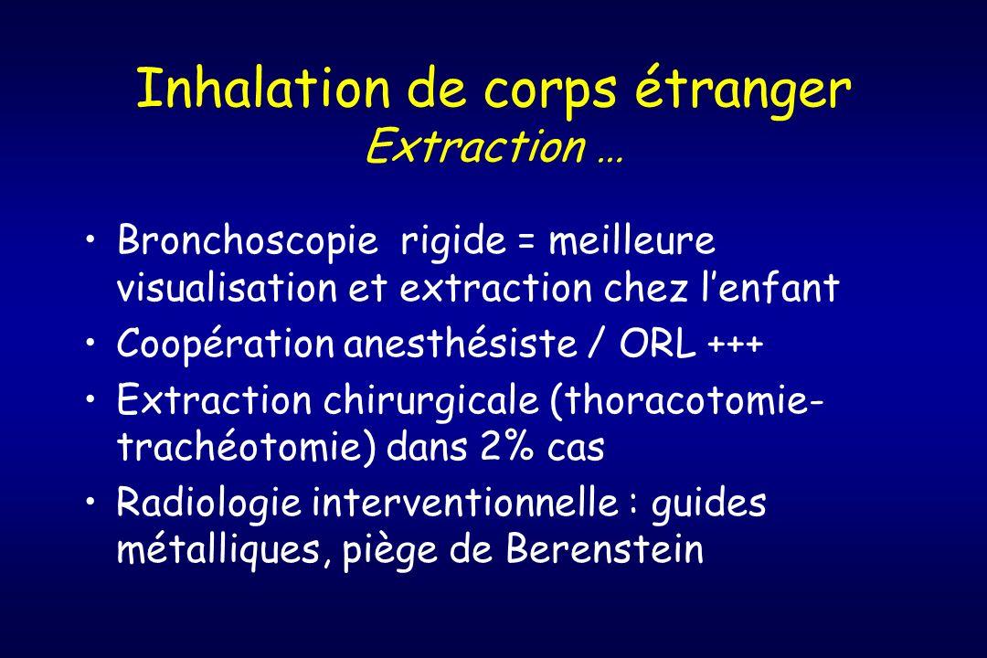 Inhalation de corps étranger Extraction … Bronchoscopie rigide = meilleure visualisation et extraction chez lenfant Coopération anesthésiste / ORL +++