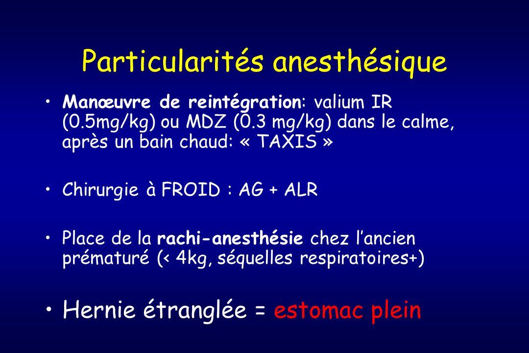 Particularités anesthésique Manœuvre de reintégration: valium IR (0.5mg/kg) ou MDZ (0.3 mg/kg) dans le calme, après un bain chaud: « TAXIS » Chirurgie