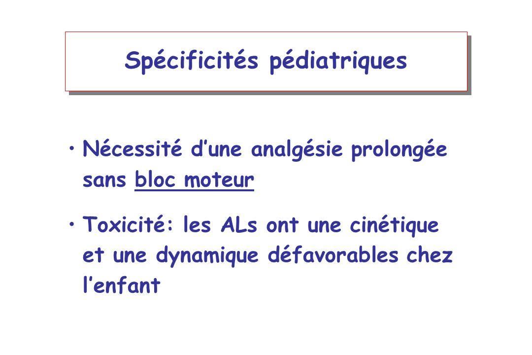Spécificités pédiatriques Nécessité dune analgésie prolongée sans bloc moteur Toxicité: les ALs ont une cinétique et une dynamique défavorables chez l