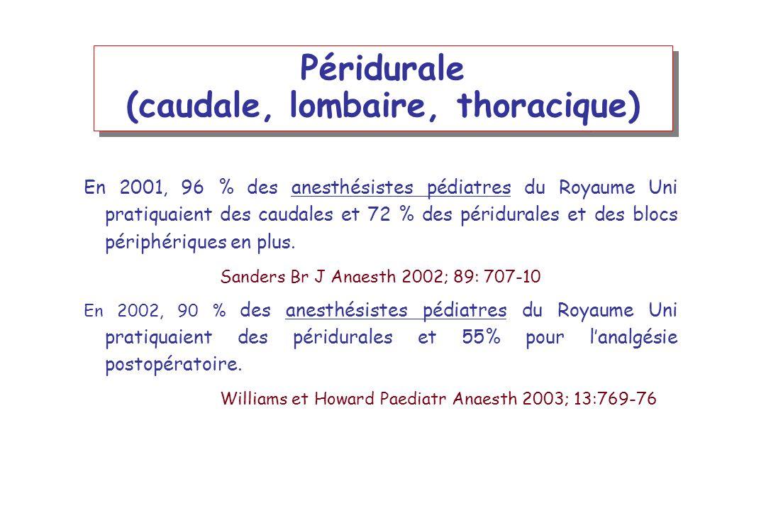 Péridurale (caudale, lombaire, thoracique) En 2001, 96 % des anesthésistes pédiatres du Royaume Uni pratiquaient des caudales et 72 % des péridurales