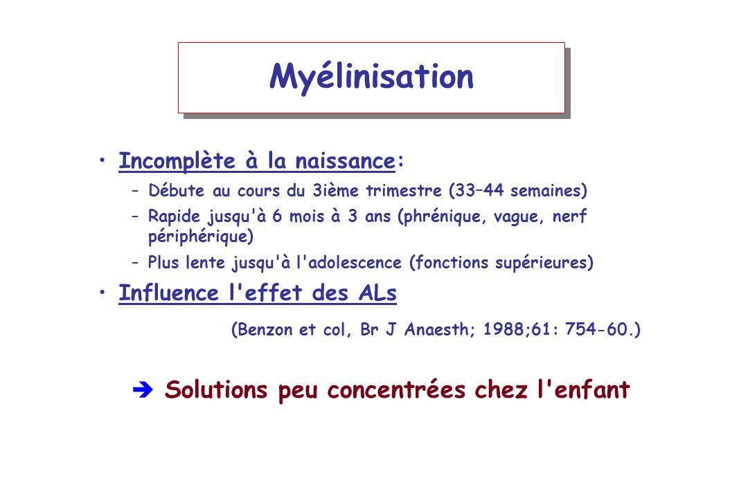 Myélinisation Incomplète à la naissance: –Débute au cours du 3ième trimestre (33–44 semaines) –Rapide jusqu'à 6 mois à 3 ans (phrénique, vague, nerf p