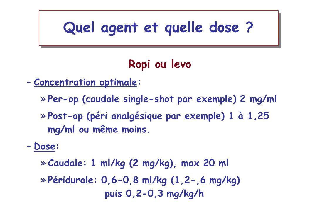 Quel agent et quelle dose ? Ropi ou levo –Concentration optimale: »Per-op (caudale single-shot par exemple) 2 mg/ml »Post-op (péri analgésique par exe