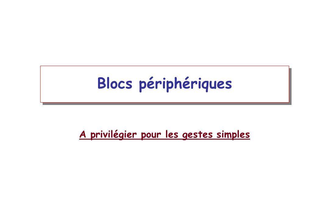 Blocs périphériques A privilégier pour les gestes simples