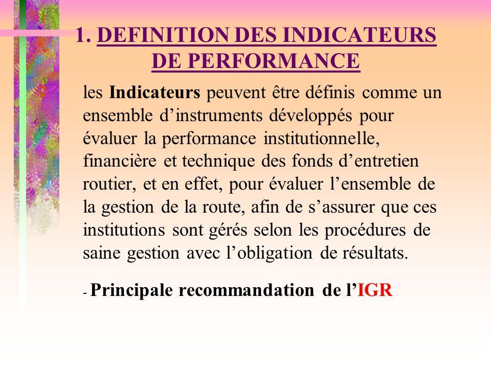 PLAN DE LA PRESENTATION 1.DEFINITION DES INDICATEURS DE PERFORMANCE 2.MESURE DE PERFORMANCE 3.INDICATEURS CLES DE PERFORMANCE 4.PEFORMANCE DU FONDS DENTRETIEN ROUTIER 5.PERFORMANCE DU RESTE DE LA GESTION DE LA ROUTE 5.1 LAGENCE ROUTIER 5.2 CAPACITE DES ENTREPRISES 5.3 AUDIT DE LENTRETIEN ROUTIER 5.4 LES CONDITIONS DU RESEAU ROUTIER 6.CONCLUSIONS