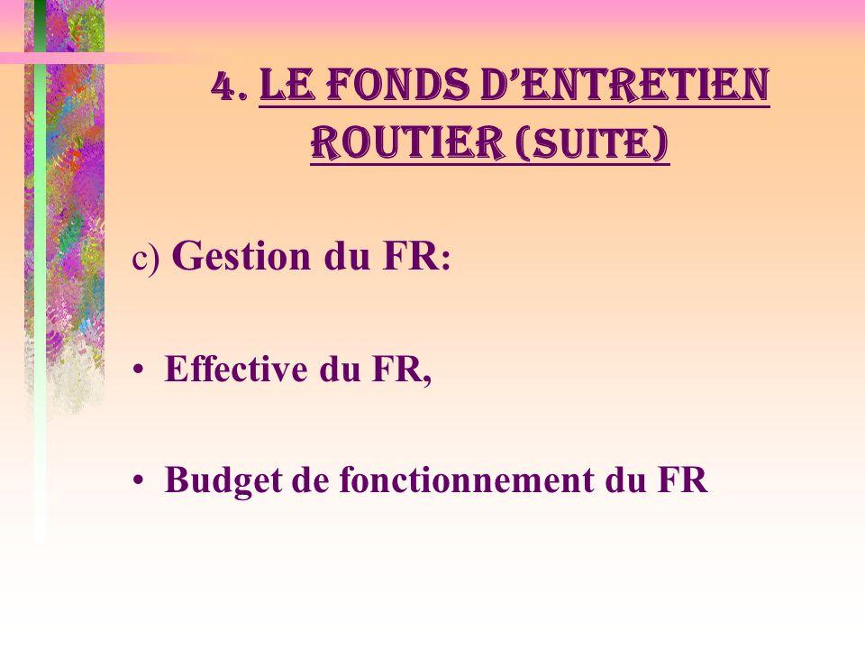 4. LE FONDS DENTRETIEN ROUTIER (suite) b) Disponibilité & Décaissement des fonds: Montant des fonds disponible dans le comptes du FR couvre combien de