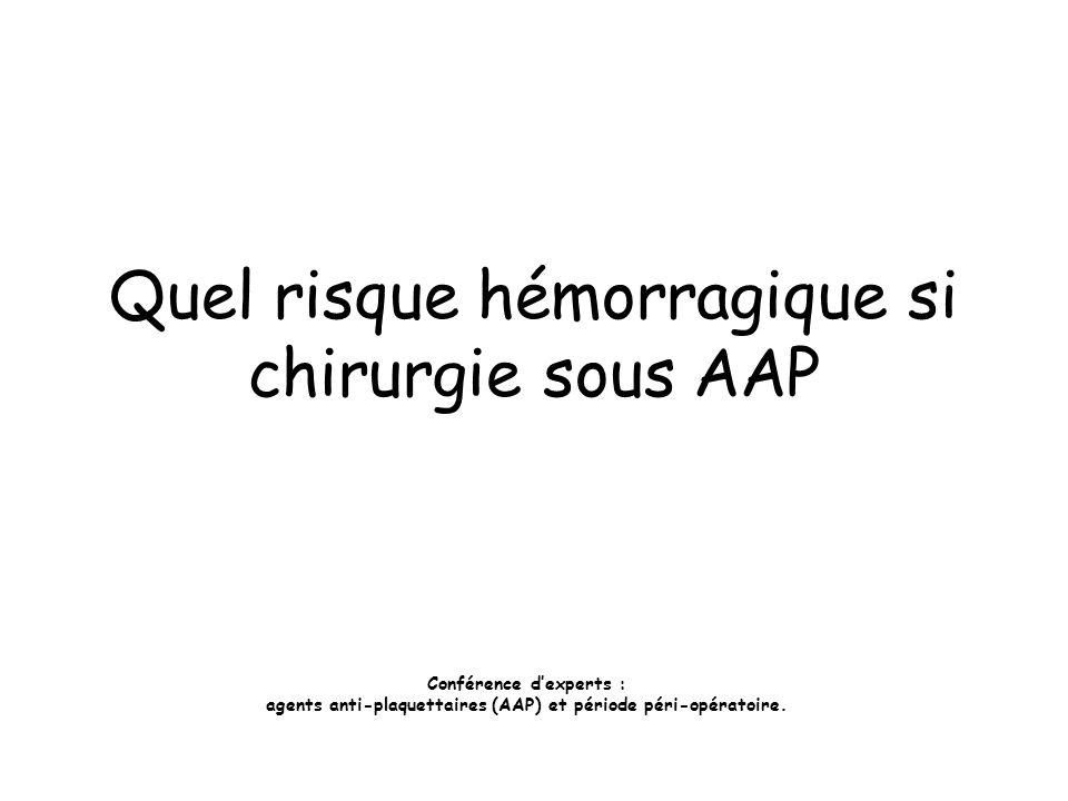 Quel risque hémorragique si chirurgie sous AAP Conférence dexperts : agents anti-plaquettaires (AAP) et période péri-opératoire.