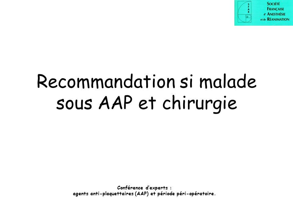 Recommandation si malade sous AAP et chirurgie Conférence dexperts : agents anti-plaquettaires (AAP) et période péri-opératoire.