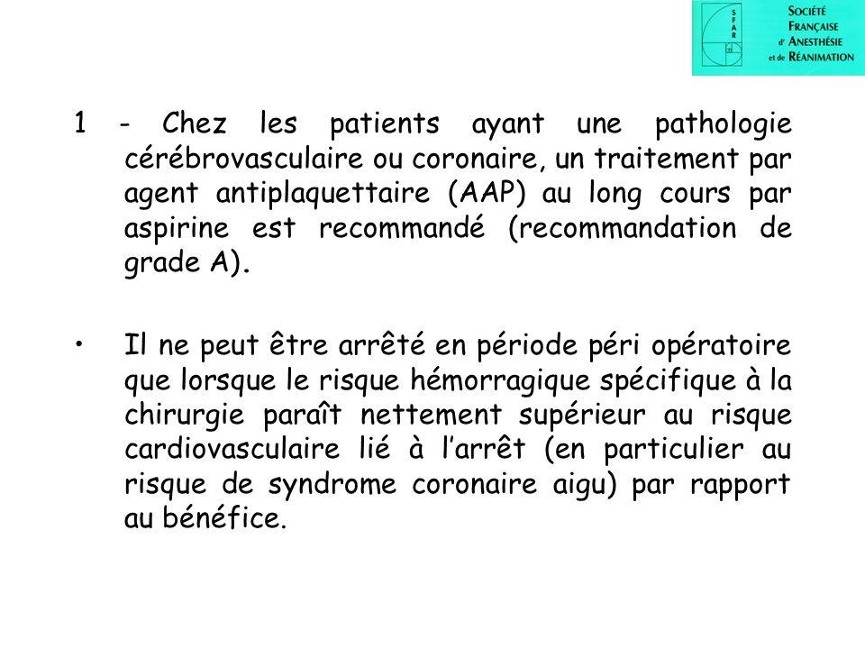 1 - Chez les patients ayant une pathologie cérébrovasculaire ou coronaire, un traitement par agent antiplaquettaire (AAP) au long cours par aspirine e