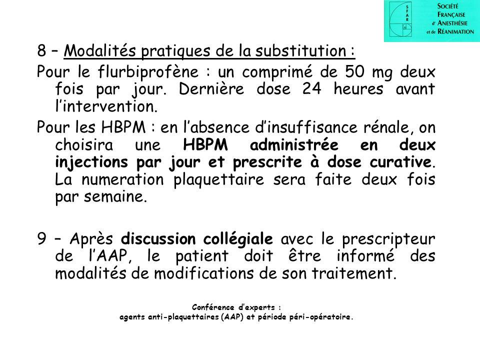 8 – Modalités pratiques de la substitution : Pour le flurbiprofène : un comprimé de 50 mg deux fois par jour. Dernière dose 24 heures avant lintervent