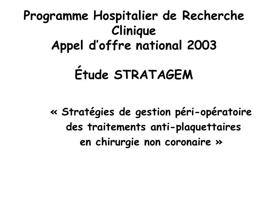 « Stratégies de gestion péri-opératoire des traitements anti-plaquettaires en chirurgie non coronaire » Programme Hospitalier de Recherche Clinique Ap