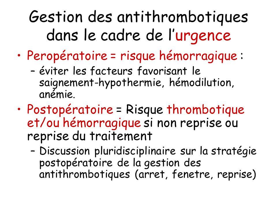Gestion des antithrombotiques dans le cadre de lurgence Peropératoire = risque hémorragique : –éviter les facteurs favorisant le saignement-hypothermi