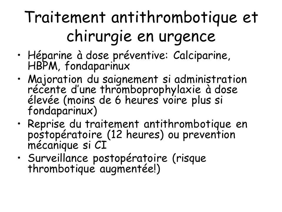 Traitement antithrombotique et chirurgie en urgence Héparine à dose préventive: Calciparine, HBPM, fondaparinux Majoration du saignement si administra