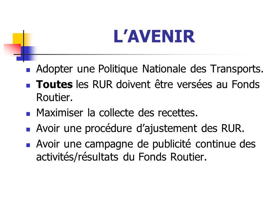 LAVENIR Adopter une Politique Nationale des Transports.