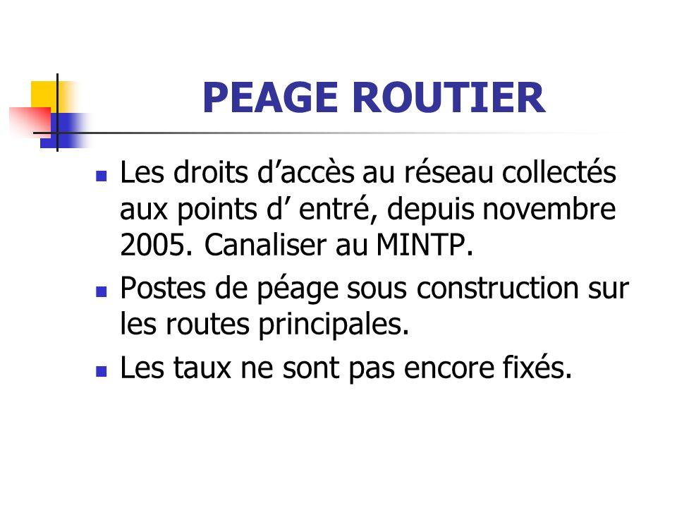 PEAGE ROUTIER Les droits daccès au réseau collectés aux points d entré, depuis novembre 2005.