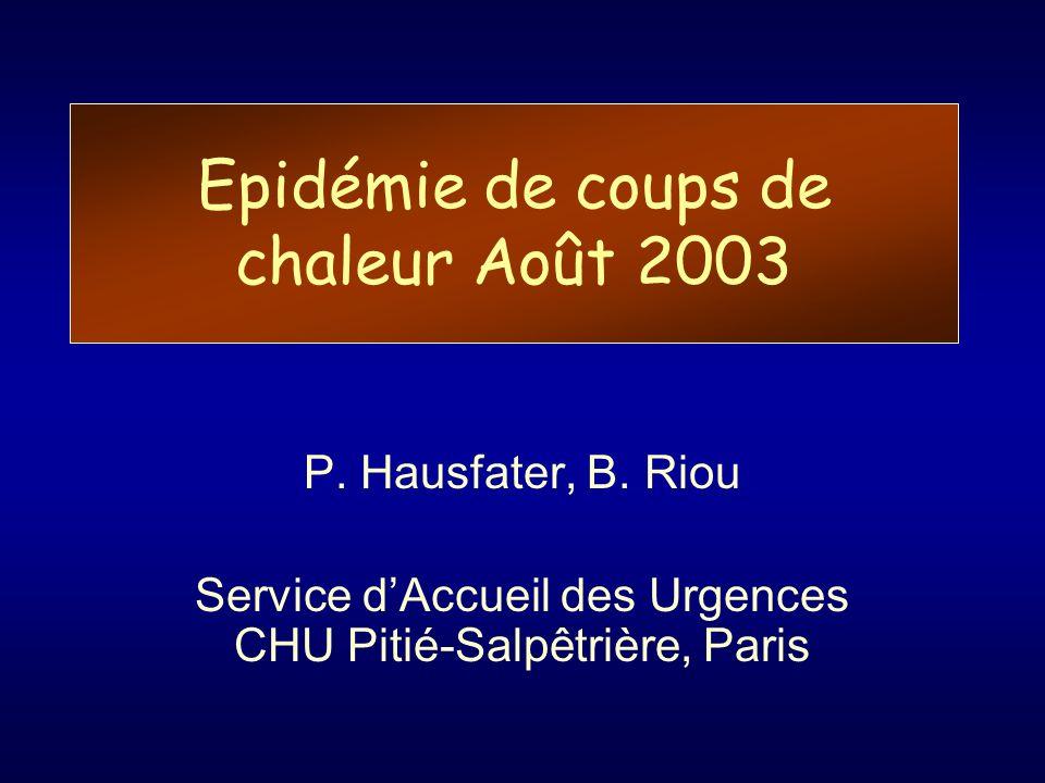 Epidémie de coups de chaleur Août 2003 P. Hausfater, B. Riou Service dAccueil des Urgences CHU Pitié-Salpêtrière, Paris