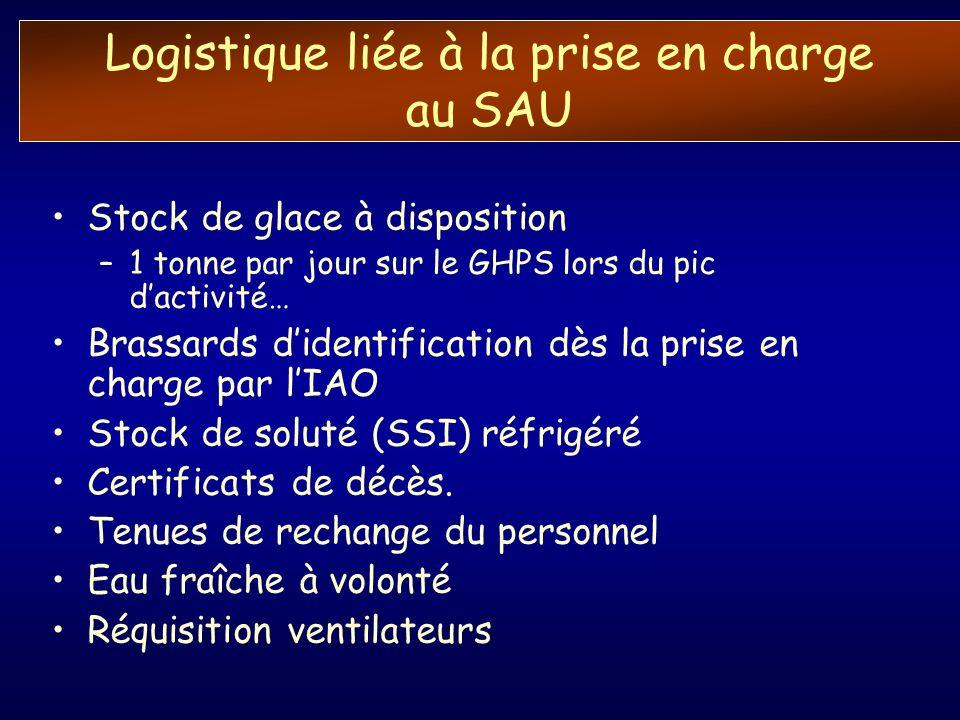 Logistique liée à la prise en charge au SAU Stock de glace à disposition –1 tonne par jour sur le GHPS lors du pic dactivité… Brassards didentificatio