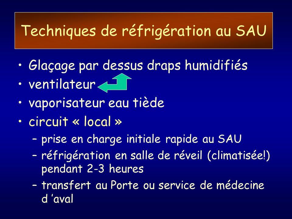 Techniques de réfrigération au SAU Glaçage par dessus draps humidifiés ventilateur vaporisateur eau tiède circuit « local » –prise en charge initiale