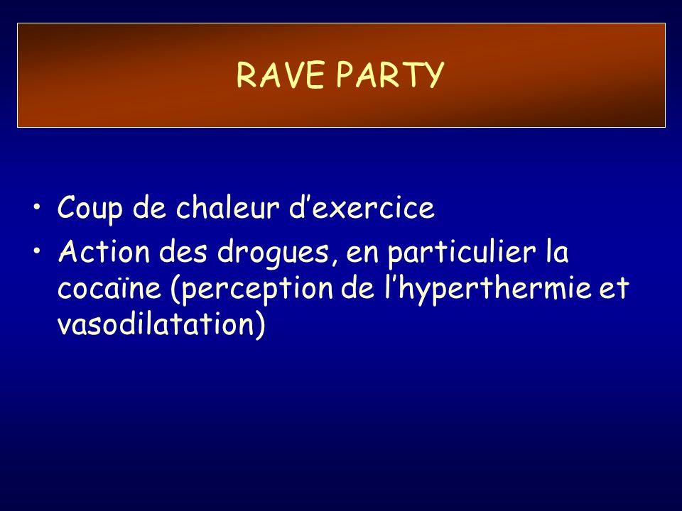 RAVE PARTY Coup de chaleur dexercice Action des drogues, en particulier la cocaïne (perception de lhyperthermie et vasodilatation)