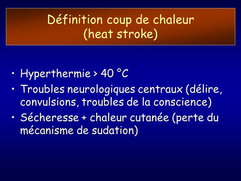 Définition coup de chaleur (heat stroke) Hyperthermie > 40 °C Troubles neurologiques centraux (délire, convulsions, troubles de la conscience) Séchere