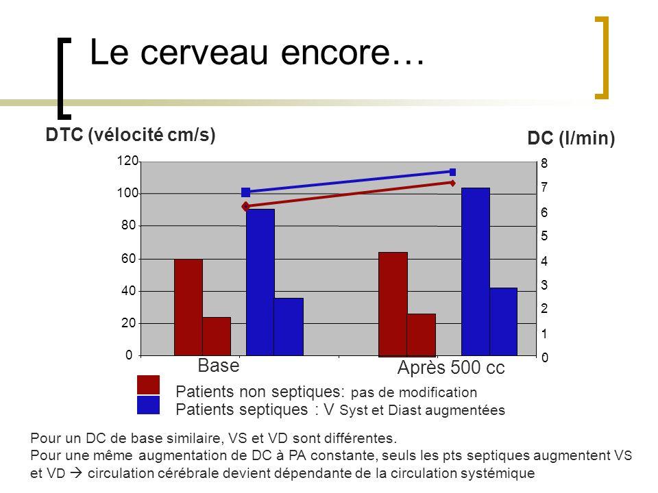 Le cerveau encore… Patients non septiques: pas de modification Patients septiques : V Syst et Diast augmentées 0 20 40 60 80 100 120 0 1 2 3 4 5 6 7 8