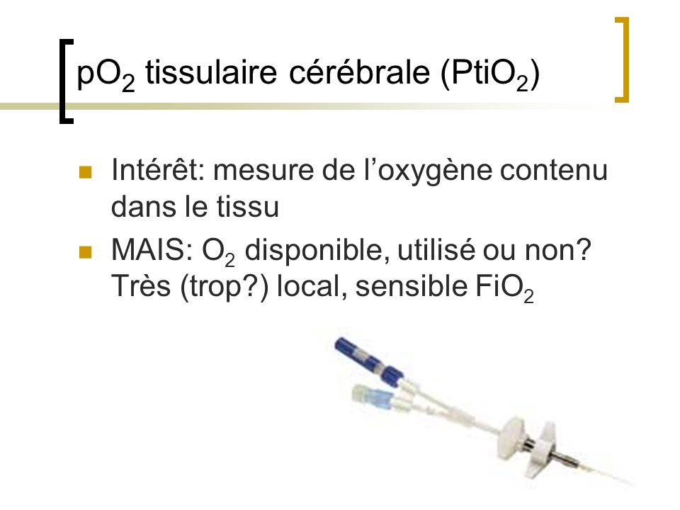pO 2 tissulaire cérébrale (PtiO 2 ) Intérêt: mesure de loxygène contenu dans le tissu MAIS: O 2 disponible, utilisé ou non? Très (trop?) local, sensib