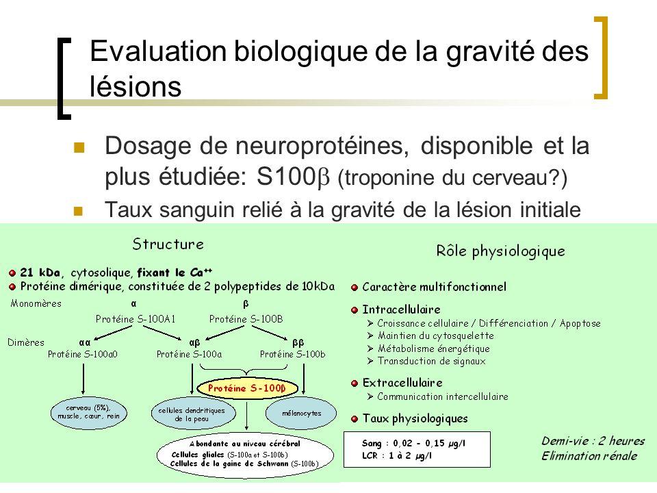 Evaluation biologique de la gravité des lésions Dosage de neuroprotéines, disponible et la plus étudiée: S100 (troponine du cerveau?) Taux sanguin rel