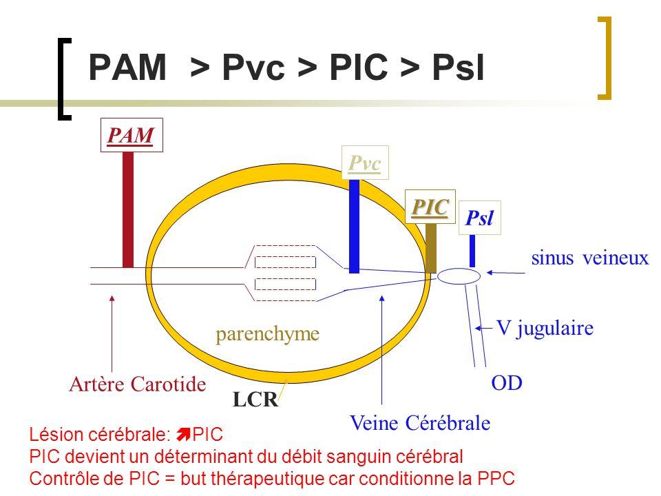 Lésion cérébrale: PIC PIC devient un déterminant du débit sanguin cérébral Contrôle de PIC = but thérapeutique car conditionne la PPC PAM > Pvc > PIC