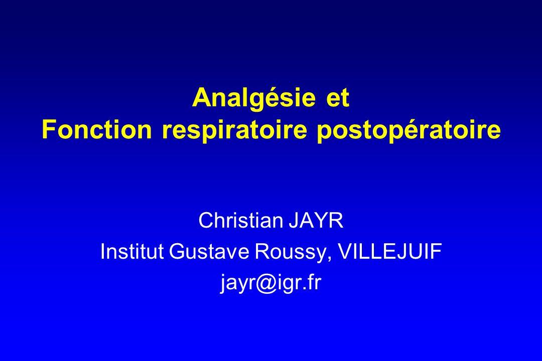 Analgésie et Fonction respiratoire postopératoire Christian JAYR Institut Gustave Roussy, VILLEJUIF jayr@igr.fr
