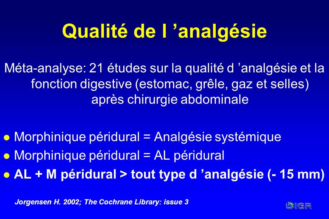 Qualité de l analgésie Méta-analyse: 21 études sur la qualité d analgésie et la fonction digestive (estomac, grêle, gaz et selles) après chirurgie abd